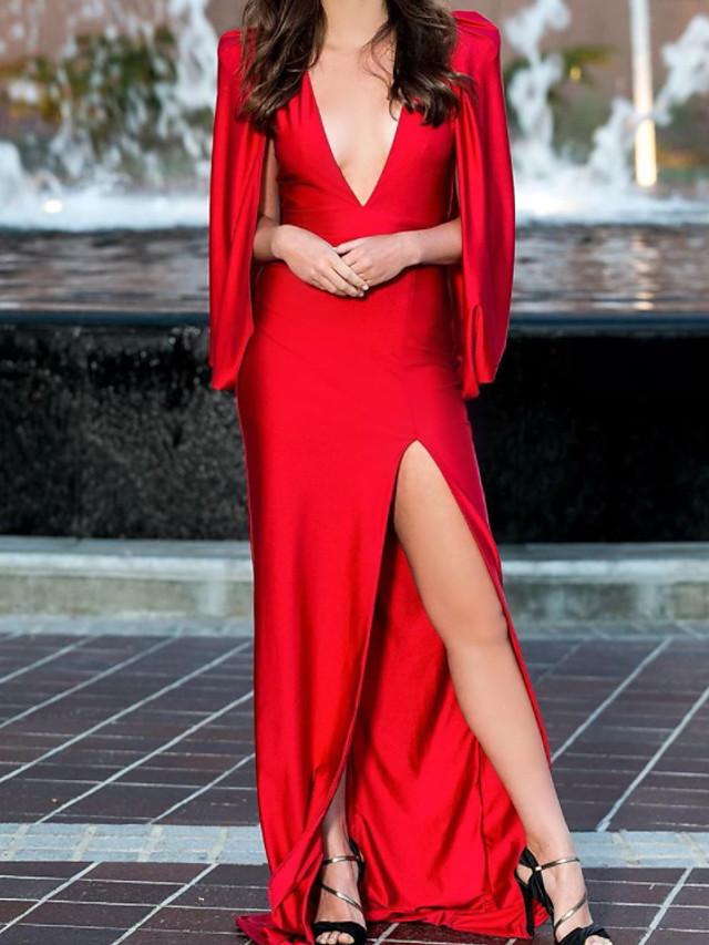 Sheath / Column Minimalist Sexy Engagement Formal Evening Dress V Neck Sleeveless Sweep / Brush Train Charmeuse with Split 2021