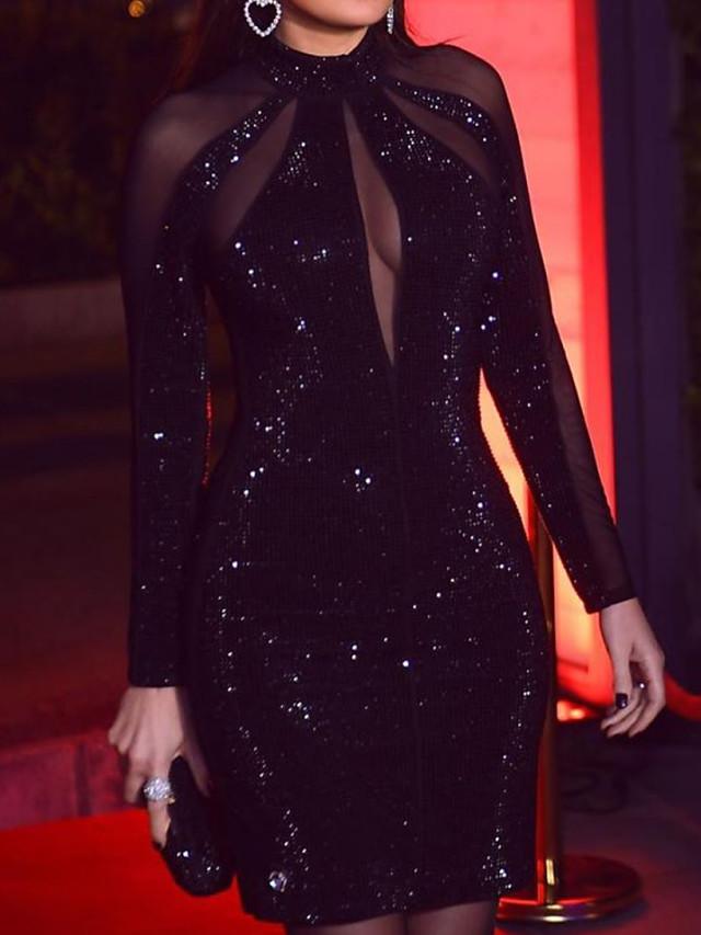 عامودي التألق مثيرة خطوبة حفلة كوكتيل فستان رقبة عالية كم طويل طول الركبة مترتر مع ترتر 2021