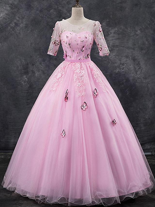 منفوش أنيق زهري كوينسينيرا حفلة رسمية فستان