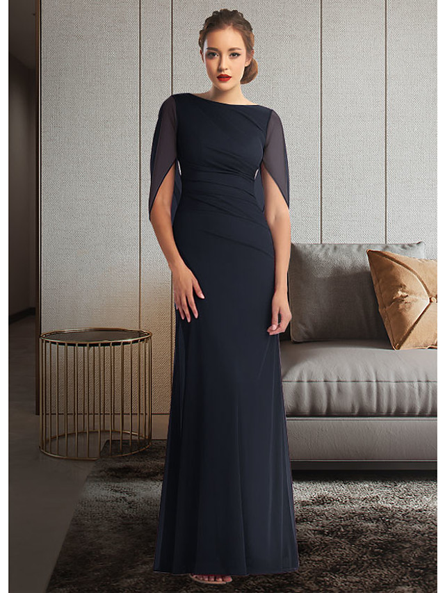 Sheath / Column Mother of the Bride Dress Elegant Jewel Neck Ankle Length Chiffon Half Sleeve with Pleats Ruching 2021 / Split