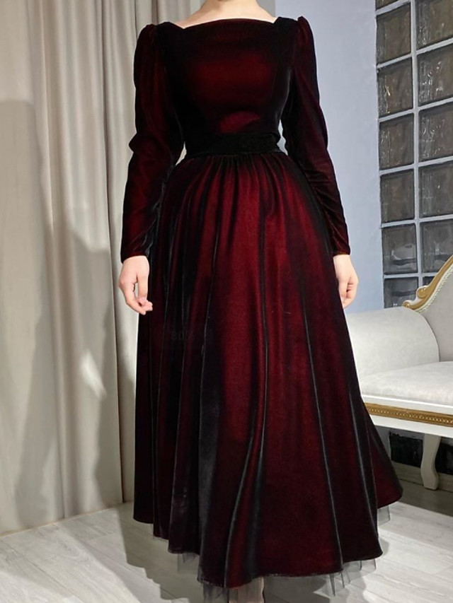 A-Line Elegant Vintage Wedding Guest Formal Evening Dress Jewel Neck Long Sleeve Ankle Length Tulle with Pleats 2021