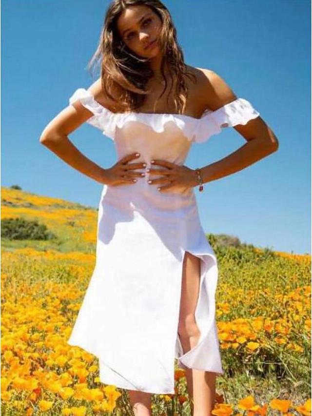 A-Line Flirty Minimalist Holiday Party Wear Dress Off Shoulder Short Sleeve Tea Length Spandex with Ruffles Split 2021