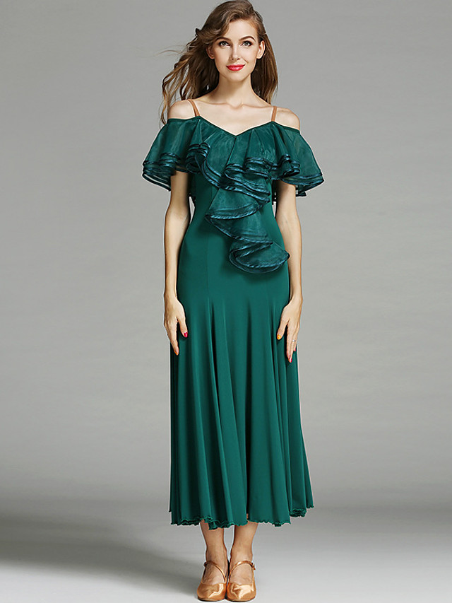 رقص الصالة فستان طيات كشاكش لون واحد نسائي التدريب أداء كم قصير ارتفاع متوسط نايلون حرير الثلج