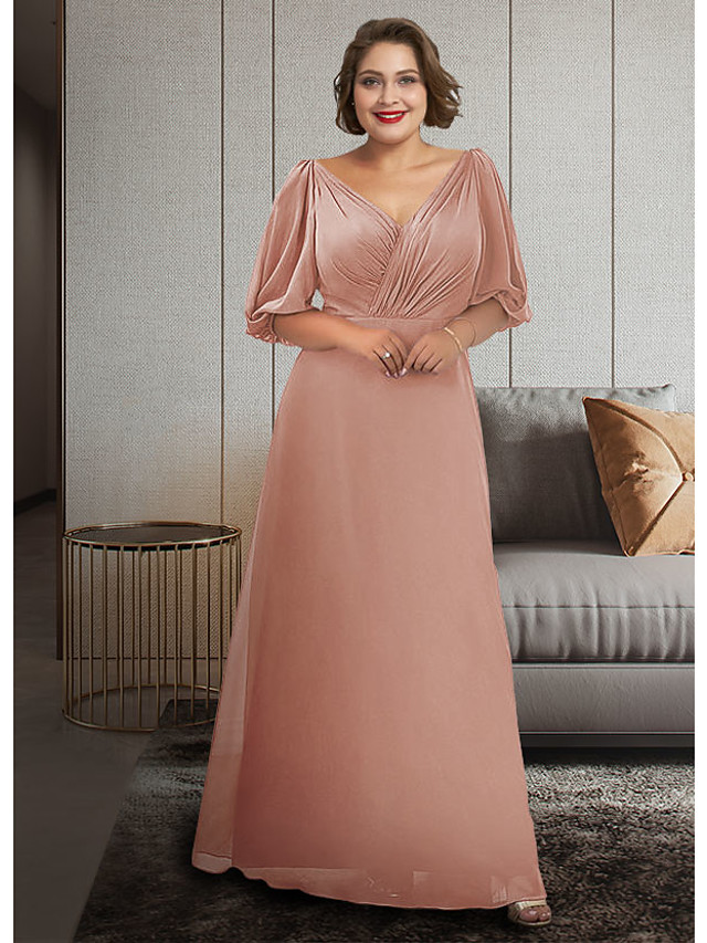 A-Line Mother of the Bride Dress Plus Size Elegant V Neck Ankle Length Chiffon Half Sleeve with Ruching 2021