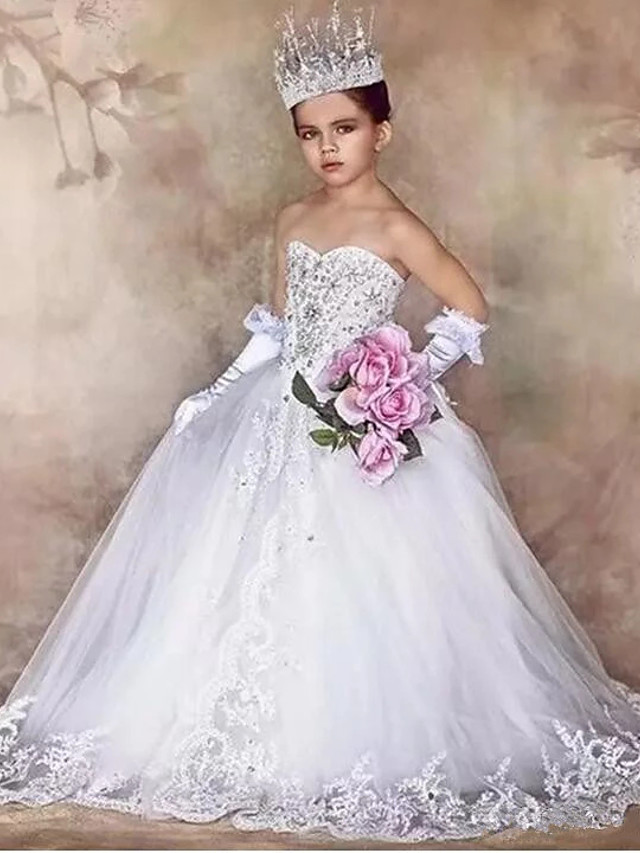 Princess / Ball Gown Floor Length Wedding / Party Flower Girl Dresses - Tulle / Sequined Sleeveless Strapless with Bow(s) / Crystals / Appliques