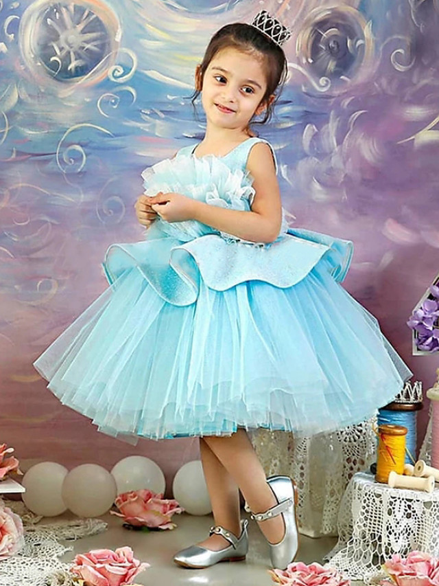 Princess / Ball Gown Knee Length Wedding / Party Flower Girl Dresses - Satin / Tulle Sleeveless Jewel Neck with Ruffles / Appliques