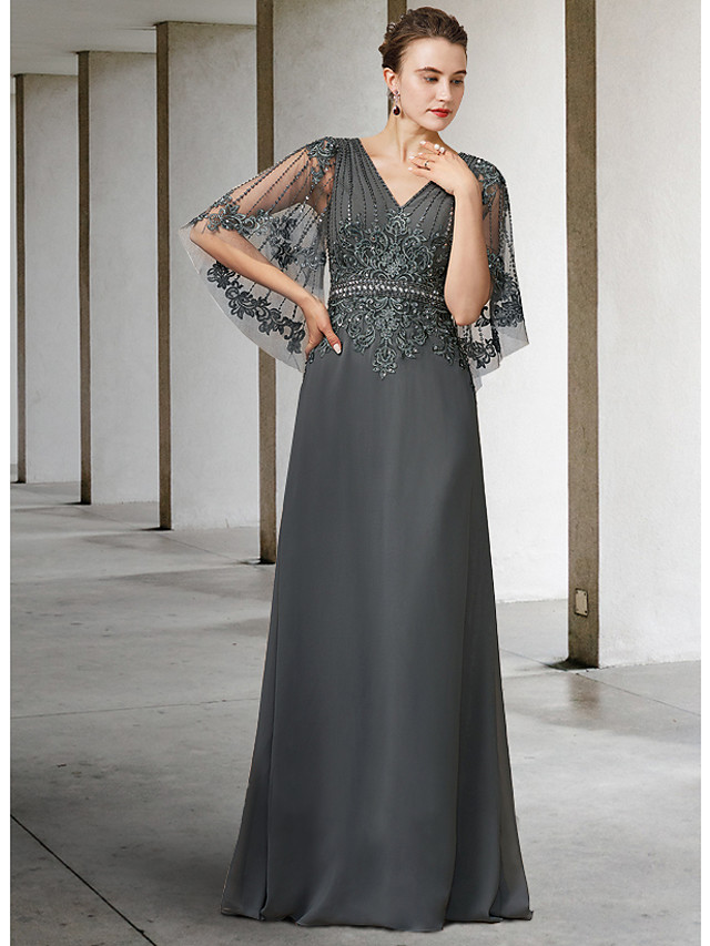 A-Line Mother of the Bride Dress Elegant V Neck Floor Length Chiffon Lace Half Sleeve with Sash / Ribbon Appliques 2021