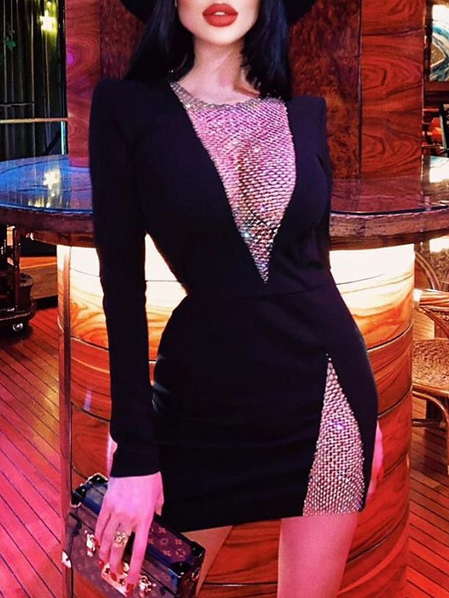 Sheath / Column Sparkle Sexy Party Wear Cocktail Party Dress Illusion Neck Long Sleeve Short / Mini Sequined Stretch Fabric with Sequin 2021