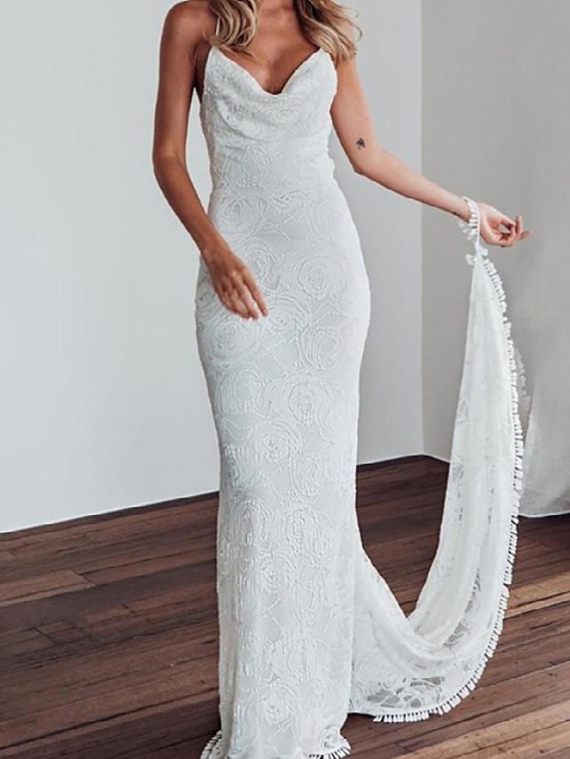 Sheath / Column Wedding Dresses V Neck Sweep / Brush Train Lace Sleeveless Beach Sexy with 2021