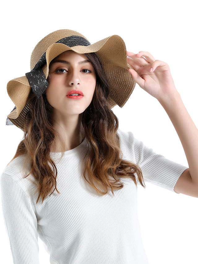 Stylish Braided / Cord Straw Hats with Bowknot 1 pc Daily Wear / Outdoor Headpiece