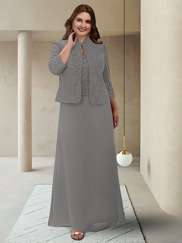 Two Piece Sheath / Column Mother of the Bride Dress Plus Size Elegant Jewel Neck Ankle Length Chiffon Lace 3/4 Length Sleeve with Appliques 2021