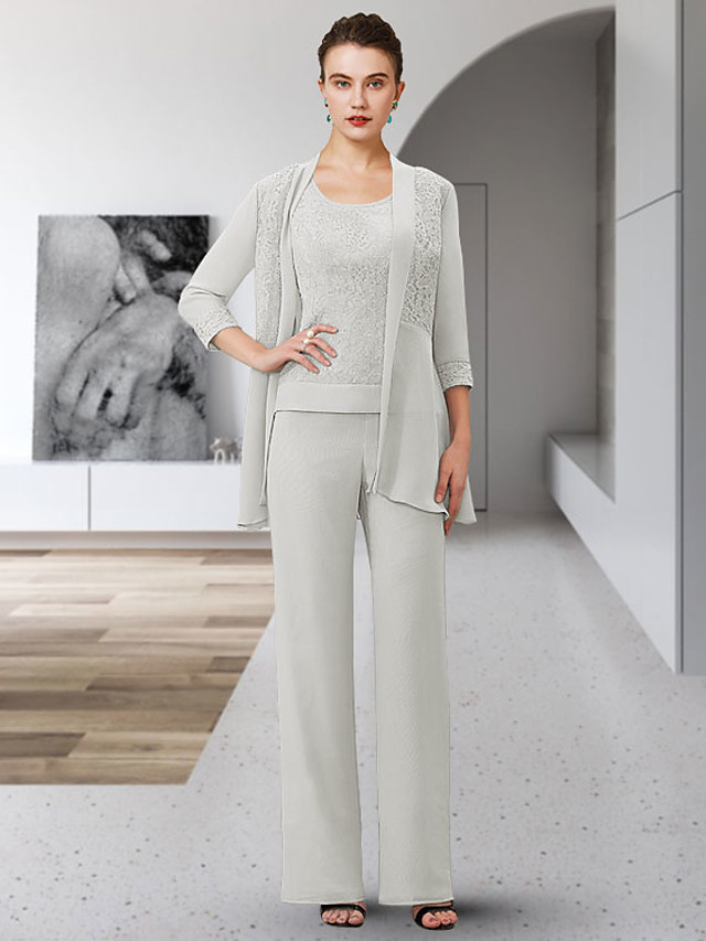 Pantsuit / Jumpsuit Mother of the Bride Dress Elegant Jewel Neck Ankle Length Chiffon Lace 3/4 Length Sleeve with Appliques 2021