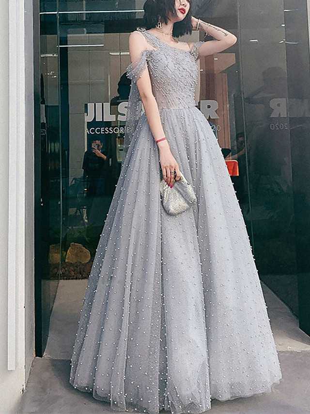 A-Line Minimalist Elegant Prom Formal Evening Dress One Shoulder Sleeveless Floor Length Tulle with Pleats Pearls 2021