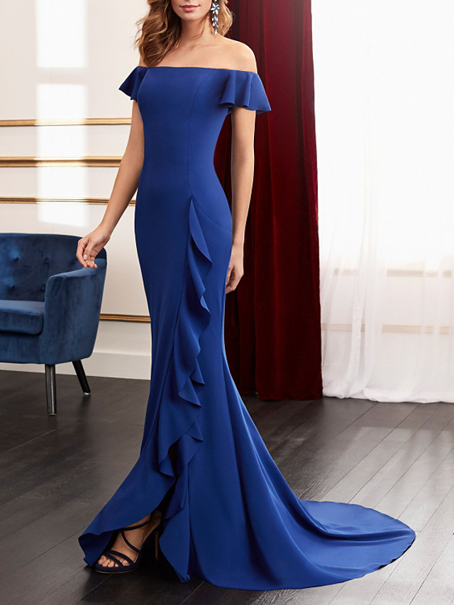 Mermaid / Trumpet Minimalist Sexy Engagement Formal Evening Dress Off Shoulder Sleeveless Sweep / Brush Train Stretch Fabric with Ruffles Split 2021