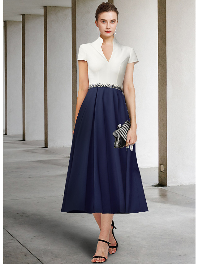 A-Line Mother of the Bride Dress Elegant V Neck Tea Length Stretch Fabric Short Sleeve with Sash / Ribbon Pleats Sequin 2021