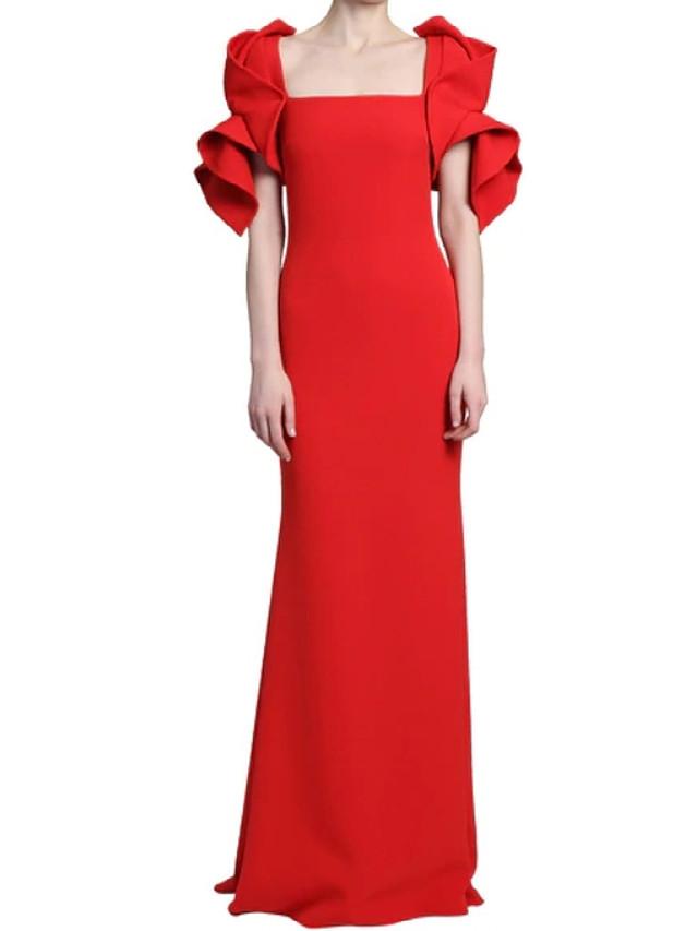 Sheath / Column Minimalist Elegant Wedding Guest Formal Evening Dress Boat Neck Short Sleeve Floor Length Stretch Fabric with Sleek 2021