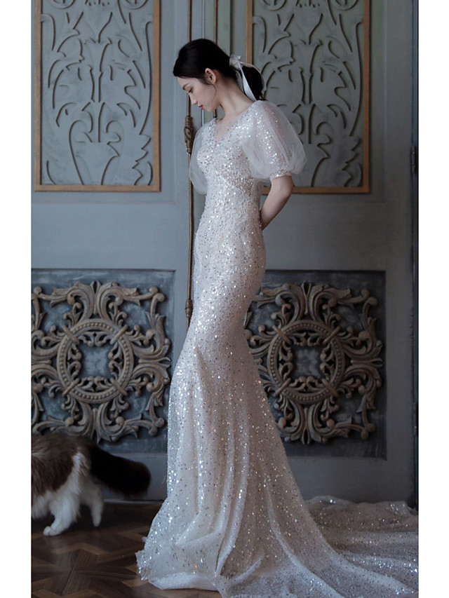 Mermaid / Trumpet Sparkle Elegant Engagement Formal Evening Dress Illusion Neck Short Sleeve Court Train Sequined with Sequin 2021