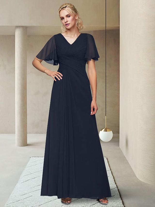 A-الخط فستان أم العروس أنيق V رقبة طول الكعب شيفون نصف كم مع ruching في 2021