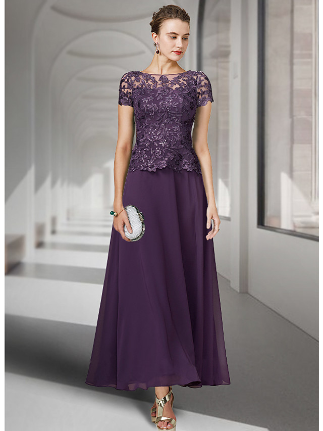 A-Line Mother of the Bride Dress Elegant Jewel Neck Ankle Length Chiffon Lace Short Sleeve with Pleats Appliques 2021