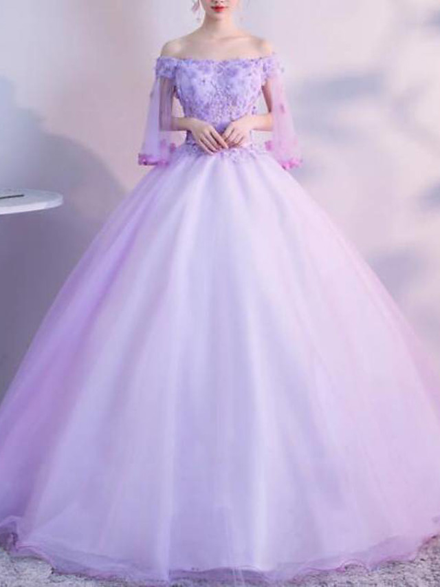 Ball Gown Luxurious Floral Quinceanera Prom Dress Strapless 3/4 Length Sleeve Floor Length Tulle with Pleats Lace Insert 2021
