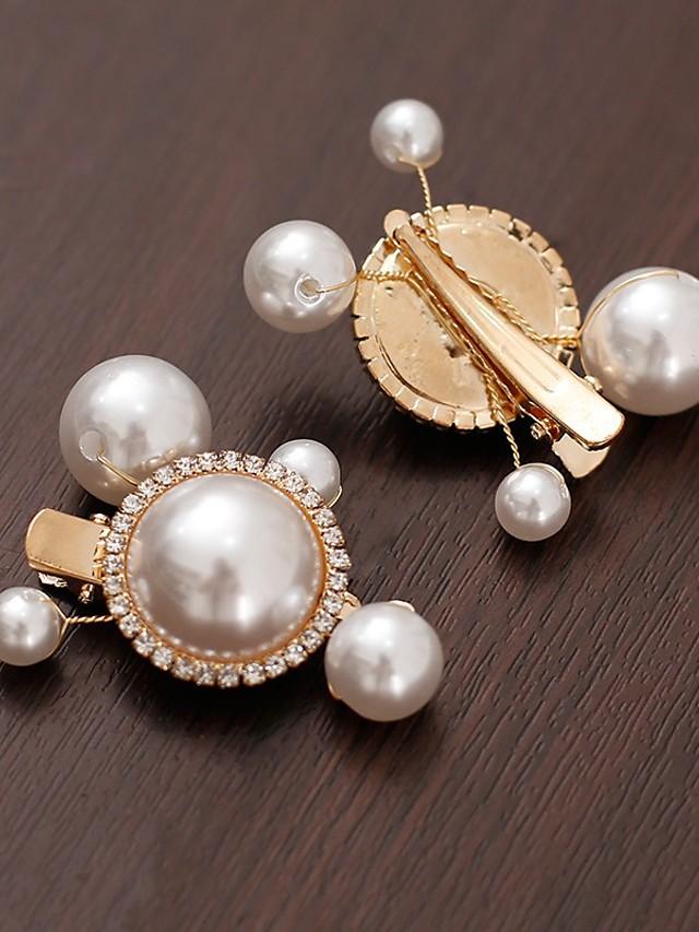 Vintage Style Pearl Alumium Alloy Hair Accessory with Imitation Pearl 1 set / 5PCS Wedding / Birthday Headpiece