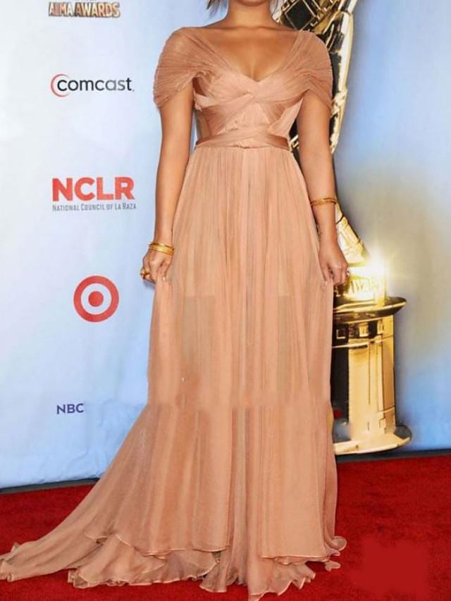 Sheath / Column Celebrity Style Elegant Prom Formal Evening Dress V Neck Short Sleeve Sweep / Brush Train Chiffon with Pleats 2021