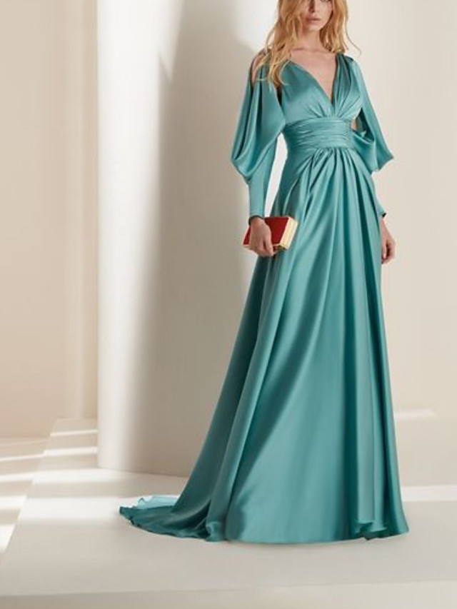 A-Line Beautiful Back Sexy Engagement Formal Evening Dress V Neck Long Sleeve Court Train Charmeuse with Pleats 2021