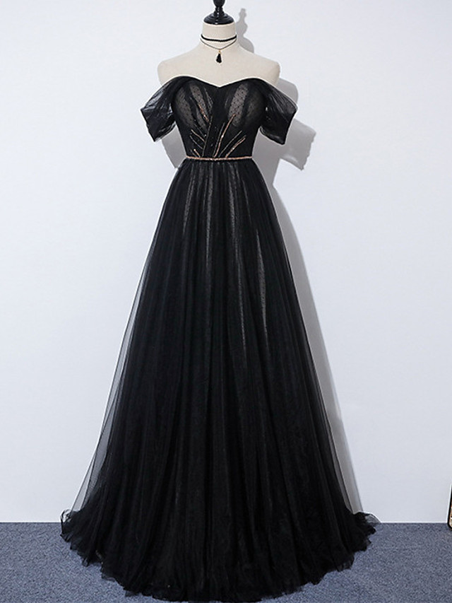 A-Line Glittering Elegant Engagement Formal Evening Dress Off Shoulder Sleeveless Sweep / Brush Train Tulle with Pleats Beading 2021