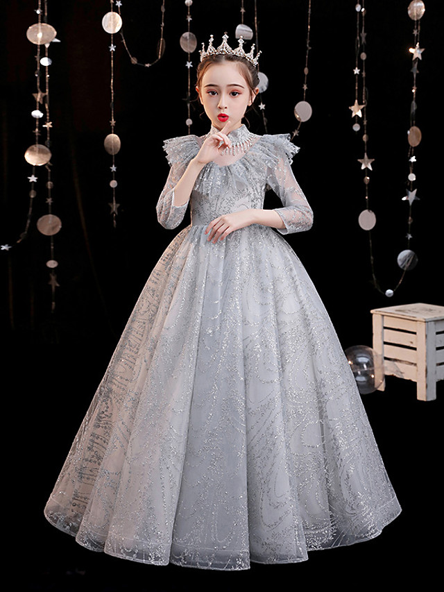 Princess Floor Length Formal Evening / Pageant Flower Girl Dresses - Tulle 3/4 Length Sleeve High Neck with Pleats / Solid / Crystals / Rhinestones