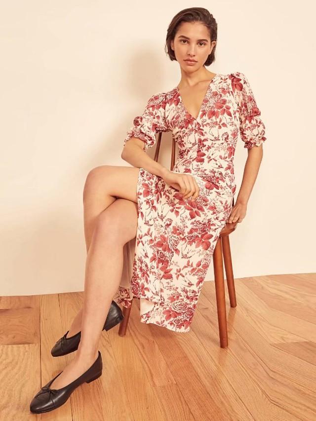 A-الخط بوهيميان زهري مناسب للعطلات ملابس الحزب فستان V رقبة نصف كم طول الساق شيفون مع نموذج / طباعة 2021