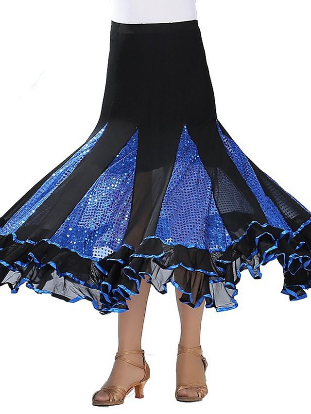 Ballroom Dance Skirts Paillette Women's Performance Natural Polyester