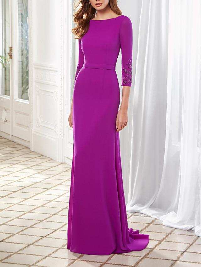 Sheath / Column Mother of the Bride Dress Elegant Jewel Neck Floor Length Chiffon Half Sleeve with Pleats 2021