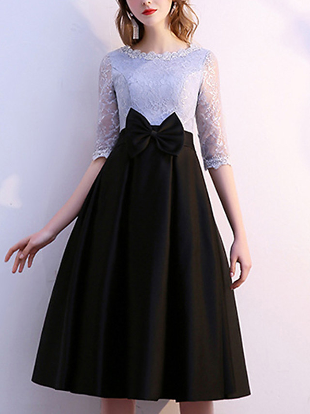 A-Line Mother of the Bride Dress Elegant Jewel Neck Tea Length Lace Satin Half Sleeve with Bow(s) 2021