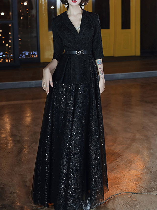 A-Line Glittering Elegant Wedding Guest Formal Evening Dress V Neck Half Sleeve Floor Length Spandex with Sash / Ribbon Sequin 2021