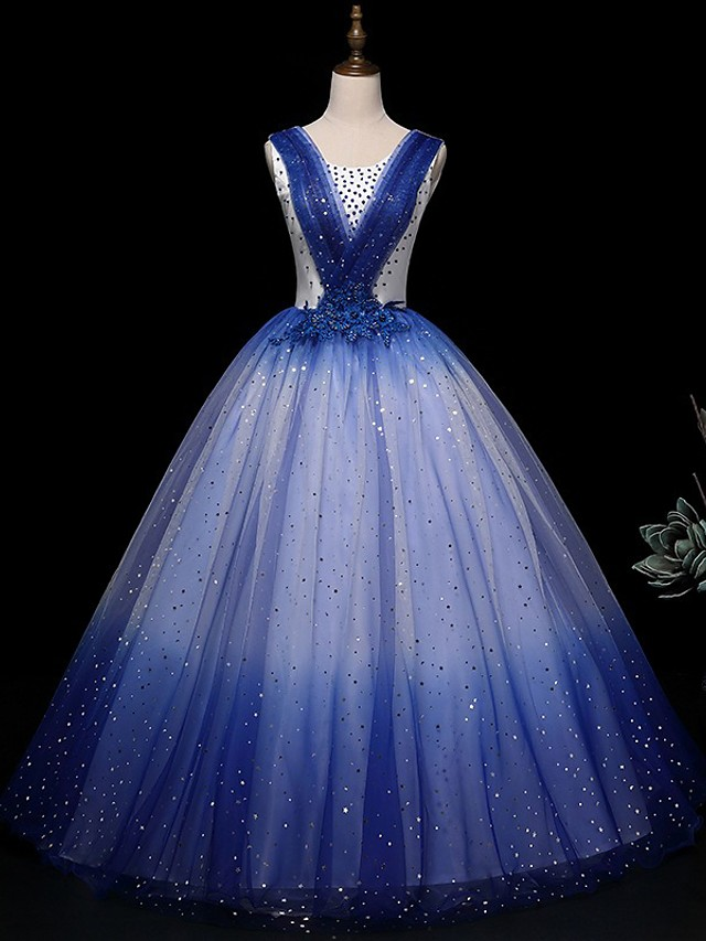 Ball Gown Glittering Floral Quinceanera Prom Dress Scoop Neck Sleeveless Floor Length Tulle with Beading Appliques 2021