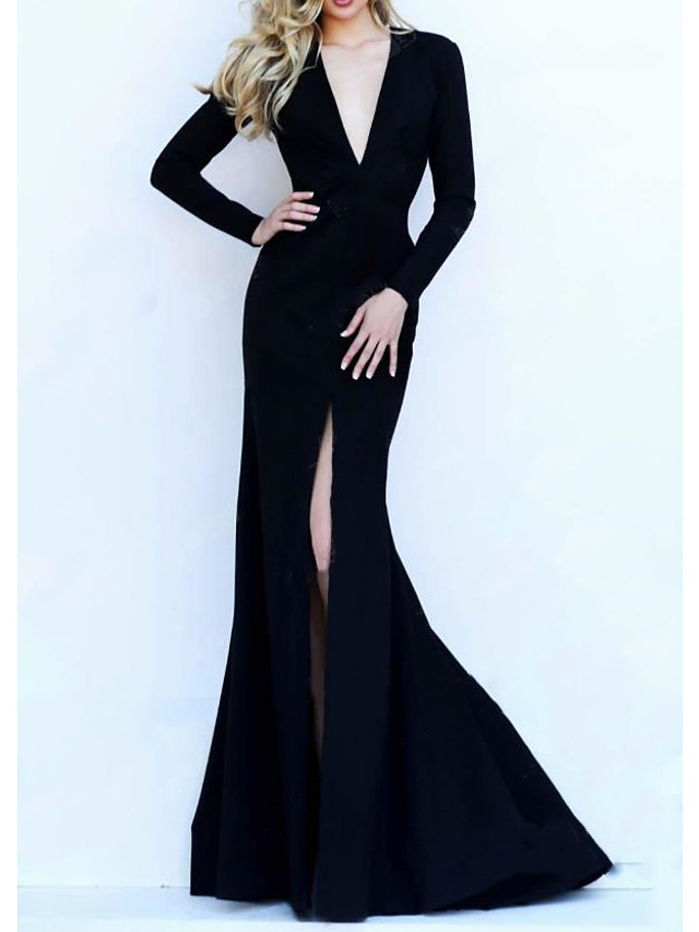 Mermaid / Trumpet Beautiful Back Sexy Wedding Guest Formal Evening Dress V Neck Long Sleeve Sweep / Brush Train Satin with Pleats 2021