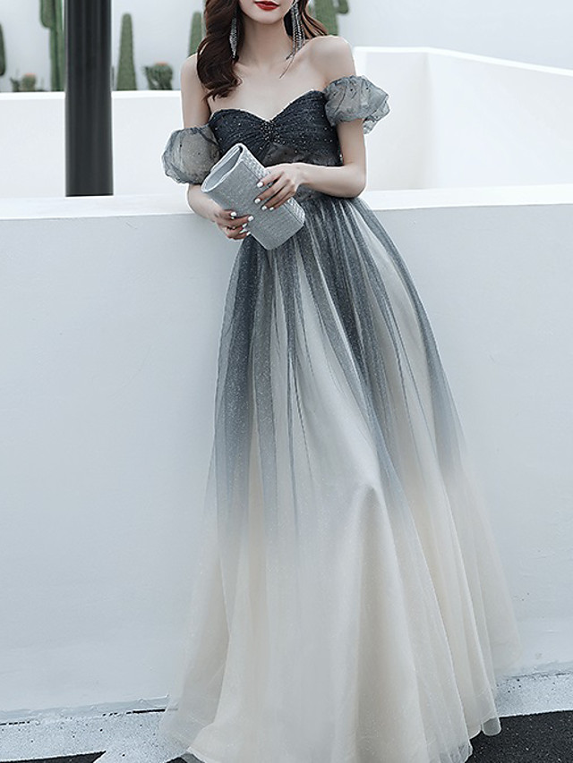 A-Line Color Block Sparkle Engagement Prom Dress Off Shoulder Short Sleeve Floor Length Tulle with Pleats Beading Sequin 2021