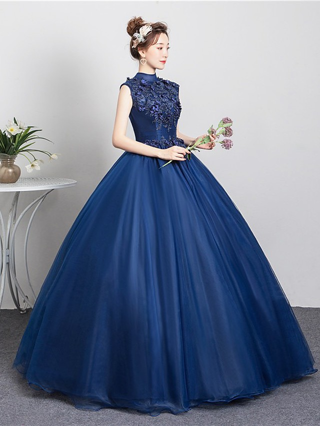 Ball Gown Cut Out Floral Quinceanera Prom Dress High Neck Sleeveless Floor Length Tulle with Beading Appliques 2021