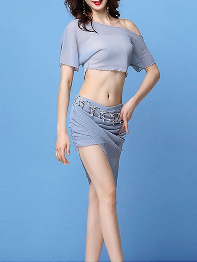 Belly Dance Skirts Solid Paillette Women's Training Performance Short Sleeve Natural Nylon