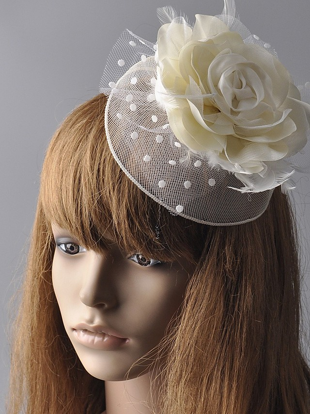 Flower Style Retro Tulle / Feather Fascinators with Feather / Floral 1 Piece Special Occasion / Party / Evening Headpiece