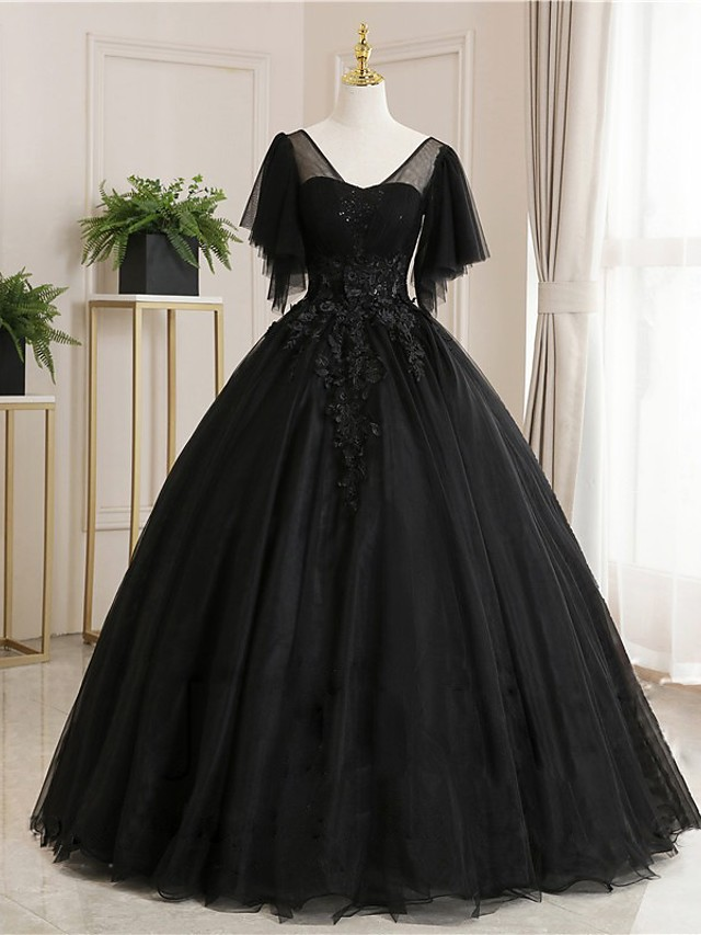 Ball Gown Luxurious Floral Quinceanera Prom Dress Scoop Neck Short Sleeve Floor Length Tulle with Pleats Embroidery 2021