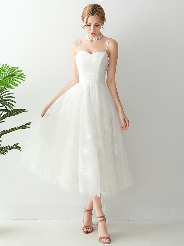 A-Line Wedding Dresses Spaghetti Strap Strapless Ankle Length Tulle Sleeveless Romantic Beach Little White Dress Elegant with Pleats 2021