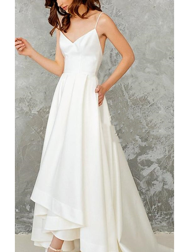 A-Line Wedding Dresses V Neck Spaghetti Strap Sweep / Brush Train Satin Stretch Fabric Sleeveless Simple Vintage Sexy 1950s with Pleats 2021