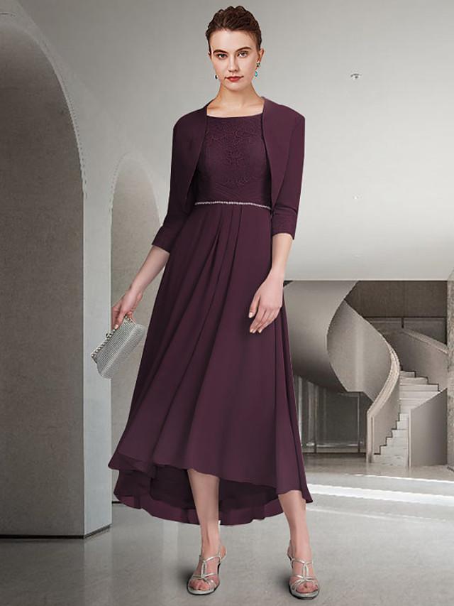 قطعتين A-الخط فستان أم العروس أنيق جوهرة طول الكعب شيفون دانتيل نصف كم مع طيات بروش كريستال 2021