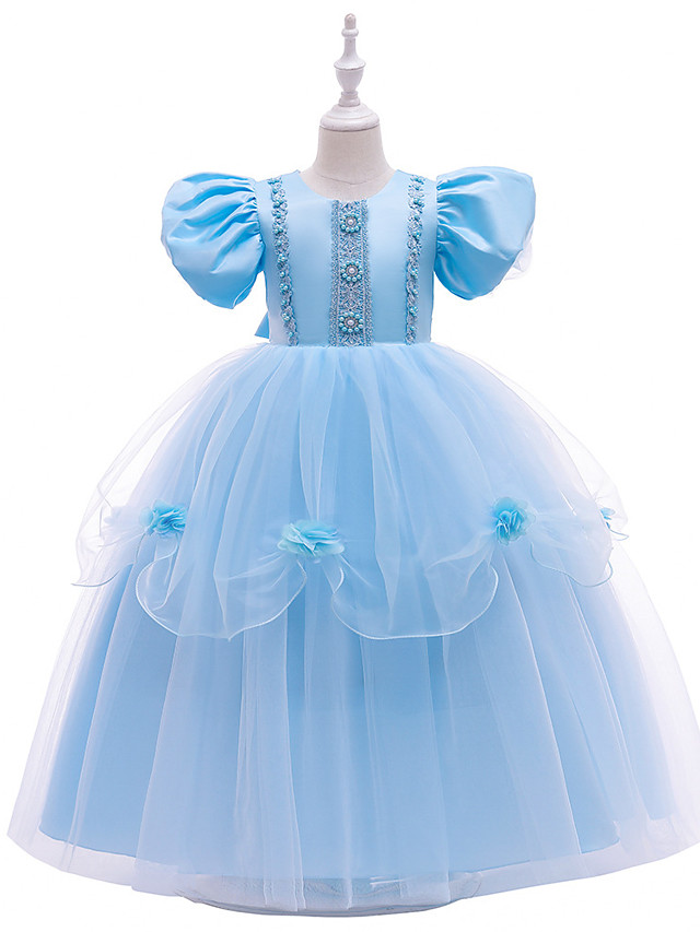 Princess Ankle Length Wedding / Party Flower Girl Dresses - Lace / Tulle Short Sleeve Jewel Neck with Lace / Beading / Tier