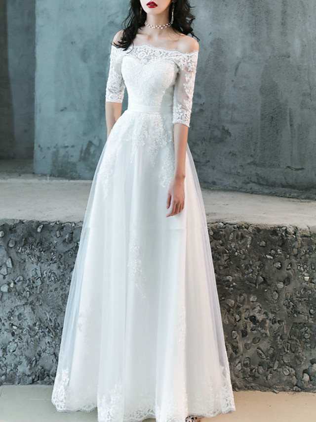 A-Line Wedding Dresses Off Shoulder Floor Length Lace Tulle Half Sleeve Romantic with Appliques 2021