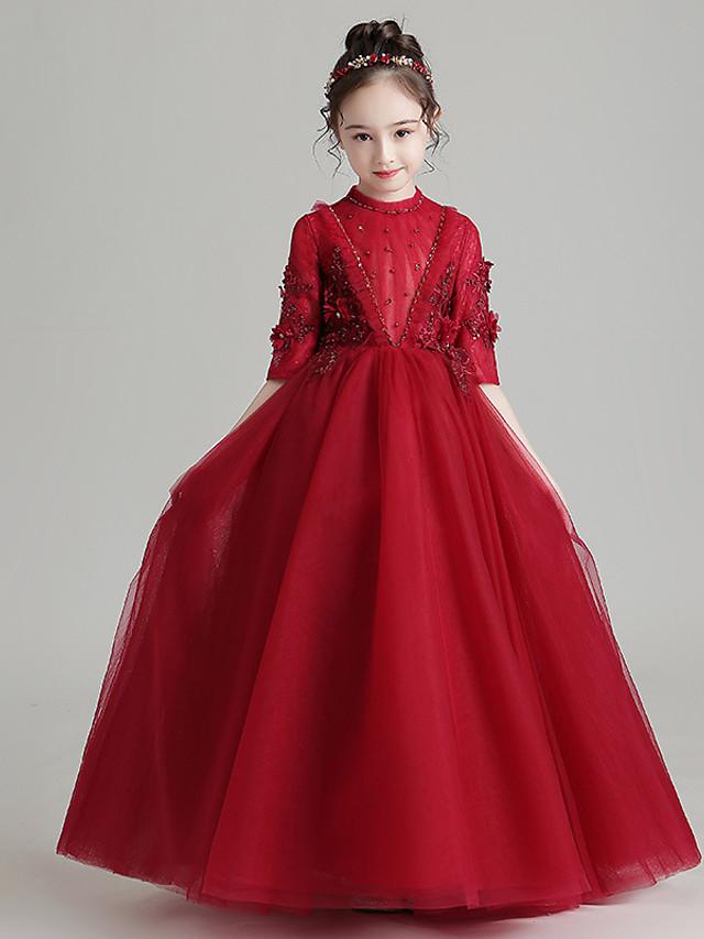 Princess / Ball Gown High Neck Floor Length Tulle Junior Bridesmaid Dress with Pleats / Beading / Ruffles