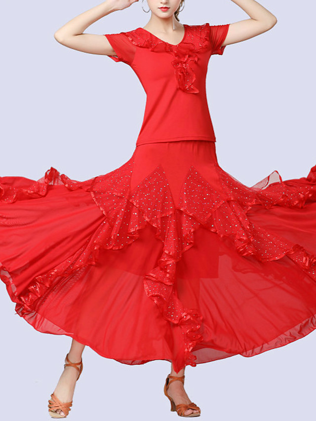 Ballroom Dance Skirts Ruffles Paillette Women's Training Performance Short Sleeve Natural Tulle Milk Fiber