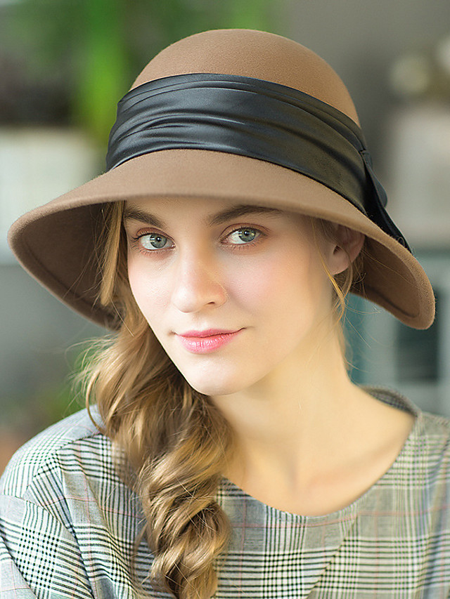 Romantic Retro Wool Hats with Bowknot 1 Piece Special Occasion / Party / Evening Headpiece