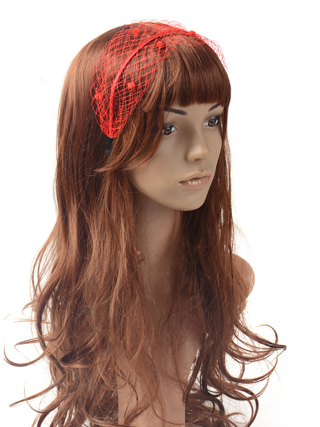 Solid Color Cute Net Headpiece with Hollow-out / Plaid 1 Piece Special Occasion / Party / Evening Headpiece